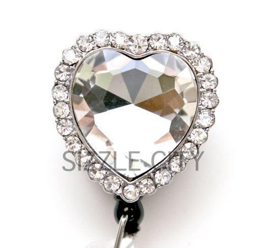 Diamond Heart Rhinestone Retractable Badge Reel/ID Badge Holder