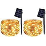 [2 Pack] BOLWEO Solar Powered String Lights,Solar Fairy Lights,Warm White,16.4Ft 50LEDS,Waterproof Wire Lighting