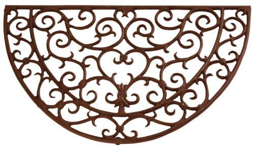 Esschert Design Schmutzfangmatte, Fußmatte in antik aus Gusseisen, halbrund, ca. 69 cm x 41 cm