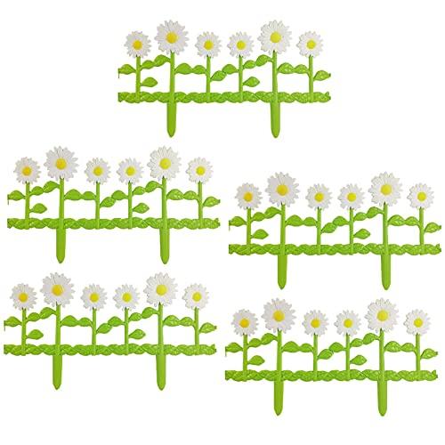 Alacritua Ogrodzenie ogrodowe, 5-pak, białe krawędzie z tworzywa sztucznego, trawa, kwietniki, granice roślin, panele ścieżek, stokrotki, tworzywo sztuczne