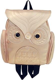 Wultia - Backpack Women Men Fashion Cute Owl Backpack Women Cartoon School Bags Softback for Teenagers Girls Mochila Mujer Gold