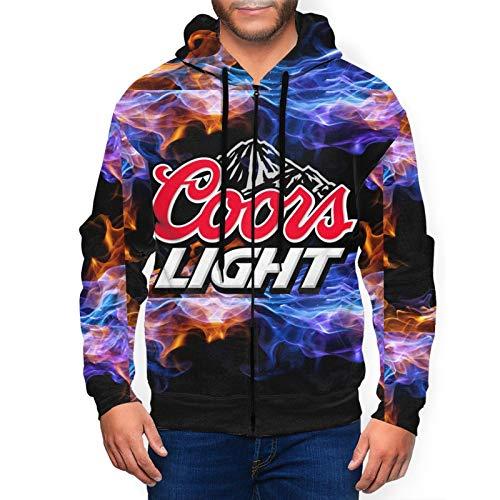 MarySWest Sudadera con Capucha de Cierre Completo para Hombre Cerveza Coors-Light Blue Sudaderas de Jersey Active con Bolsillos para Hombre