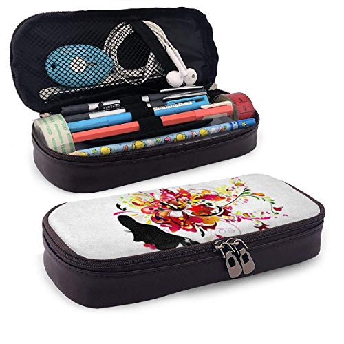Mäppchen,Pvc Pencil Case,Make-Up-Tasche,Federmappe,Storage Bag,Harmony Girl Mit Blumenhaar Modernes Futuristisches Design Pu Leder Bleistift Pen Bag Pouch Case Holder