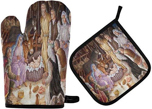 La Nativité de la Sainte Famille de Noël Les mitaines de four et les supports de casserole religieux Ensembles de coussinets chauffants résistants avec des gants de barbecue antidérapants en polyeste