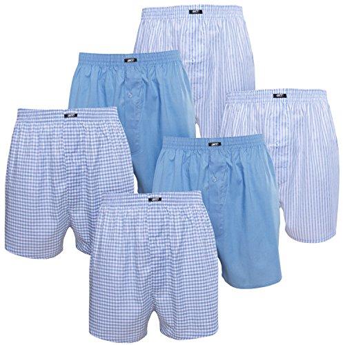MT Herren Web Boxershorts (6er Pack) American Boxer gewebt aus Baumwolle - Blau L
