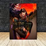 YuanMinglu Mujer Negra Africana —Cuadros Abstractos sobre Lienzo sobre Carteles Y Lienzos Decoración del Hogar del Retrato Mujer Lienzo Foto—Pintura Sin Marco70X90Cm