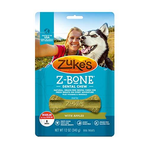 Zuke's Regular Z-Bone Grain Free Dental Chew Dog Treats With Apples - 12 oz. Bag (82425)
