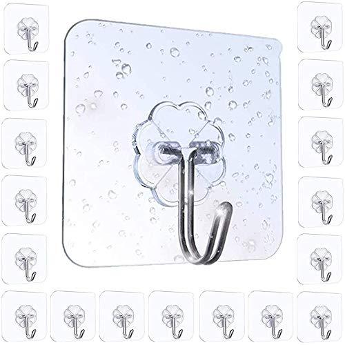 Ganchos adhesivos ganchos de utilidad ganchos de pared de cocina - 20 piezas de ganchos transparentes transparentes, impermeables y a prueba de aceite, ganchos autoadhesivos de trabajo pesado para coc