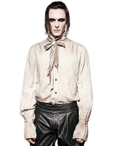 Punk Rave - Camisa de poeta steampunk para hombre, color blanco gótico VTG victoriano + corbata de bufanda