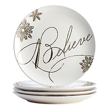 Paula Deen Dinnerware Stoneware Holiday Salad/Dessert Plate Set, 4-Piece, Winter Charm Pattern, Cream