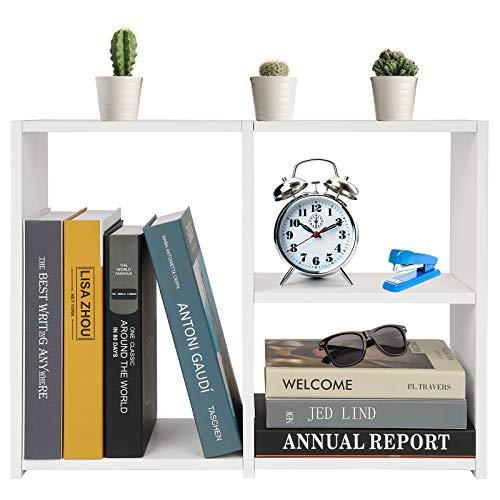 Desktop Bookshelf Wood Display Shelf Freestanding Countertop Bookcase Photo Book Decoration Storage Rack for Office Home School (White)
