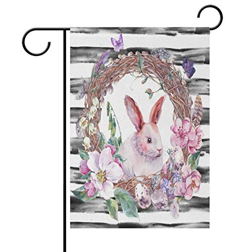 Sweetmen Watercolor Easter Bunny Eggs Spring Floral Butterflies Double Sided Polyester Garden Flag 12 X 18 Inches, Easter Holiday Decorative Flag for Party Yard Home Decor