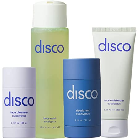 Basics Set by Disco for Men: Charcoal Face Cleanser Stick, Invigorating Body Wash, Natural Deodorant, Hydrating Face Moisturizer