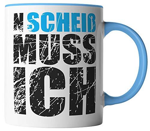 vanVerden Tasse - N Scheiß Muss Ich - beidseitig Bedruckt - Geschenk Idee Kaffeetassen, Tassenfarbe:Weiß/Blau