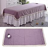 Couvre-tête de Massage Spa Couvre-lit de traitement SPA Feuille de Table de Massage Simple pour utilisation en salon pour(Purple (90 * 200 plus hole cloth))