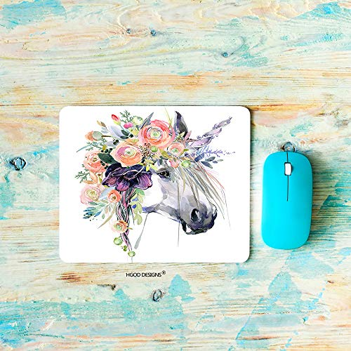 HGOD DESIGNS Horse Gaming Mouse Pad,Watercolor Unicorn White Horse in Flower Wreath Mousepad Rectangle Non-Slip Rubber Mouse Pads(7.9'X9.5')