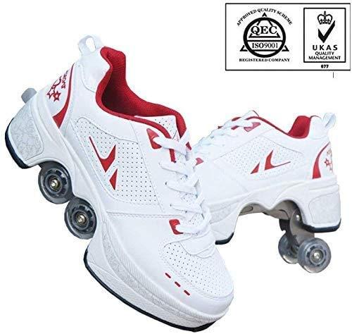 Dvuboo Inline-Skate, Multifunktionale Deformation Schuhe Quad Skate Rollschuhe Skating Outdoor Sportschuhe Für Erwachsene,Rot,36