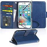 iPhone 6s ケース 手帳型 - iPhone 6 ケース 手帳 スマホケース 「ストラップ付き 横置き機能 カードポケット付き」 アイフォン6s/ 6 カバー 適応用 財布型 Arae (ネイビー)
