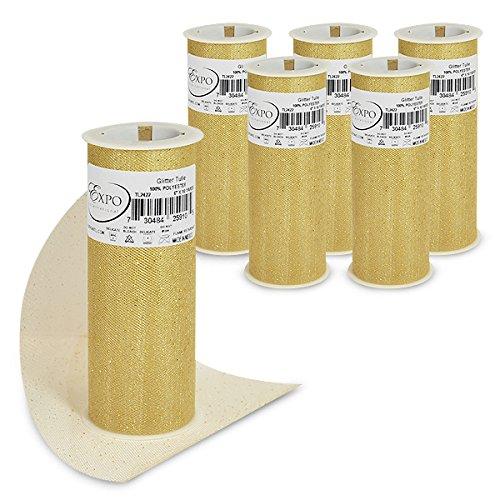 "Expo International TL2422GL-6 Glitter Tulle Spool (6 Pack), 6"" x 10 yd, Gold"