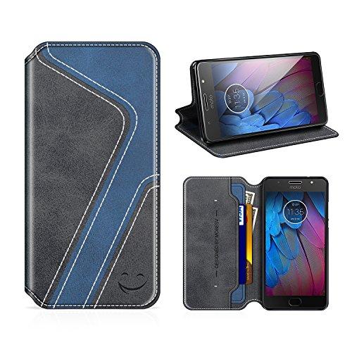 MOBESV Smiley Motorola Moto G5S Hülle Leder, Motorola Moto G5S Tasche Lederhülle/Wallet Hülle/Ledertasche Handyhülle/Schutzhülle mit Kartenfach für Motorola Moto G5S, Schwarz/Dunkel Blau