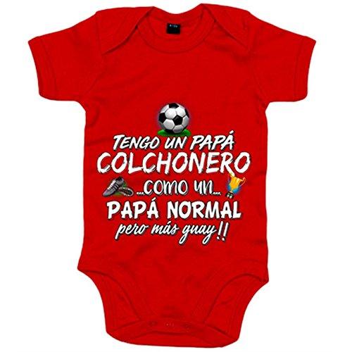 Body bebé tengo un papá Colchonero como un papá normal pero más guay - Rojo, 6-12 meses