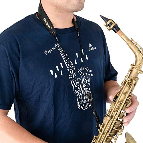 Antigua Winds Saxophone Neck Strap (handmade with genuine leather, breathable pad, easy adjustment, quick snap hook, less stress)/WST-32B-B/black/neck strap for soprano alto tenor baritone sax