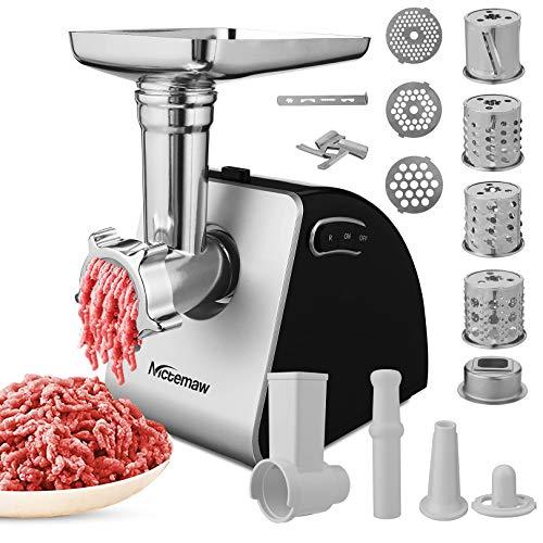 Elektrischer Fleischwolf Edelstahl, Nictemaw 2-in-1 Multifunktionale Maschine mit 4 Klingen und 3 Edelstahlschneidplatten, Wurstmaschine, andere Aufsätze für Cookie, Fleischklößchen, 2000W MAX