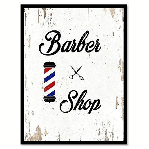 SpotColorArt Barber Shop - Impresión sobre Lona Hecha a Mano, 17,8 x 22,8 cm, Color Blanco