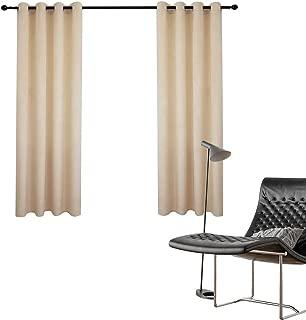 ZHAOFENG Blackout Velvet Window Curtain Set of 2 Panel, Bedroom Drapes Darkening Thermal Insulated Grommet (Khaki, 52