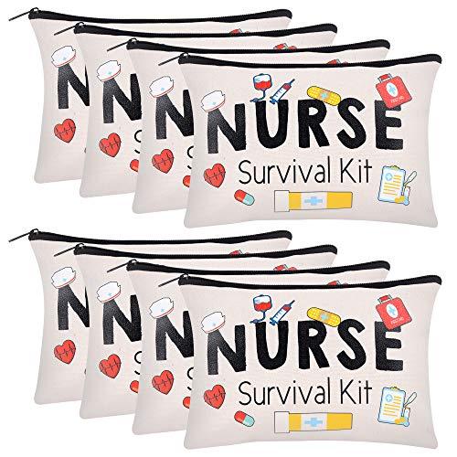8 Pieces Nurse Survival Kit Makeup Bags Funny Nurse Cosmetic Bag Nurse Practitioner Gifts Toiletry Bag For Nurses School Nurse Practitioner Supplies