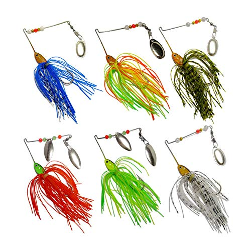 Bass Spinnerbait,6 Pcs Fishing Lures Spinner Baits,Fishing Hard Spinner Lures, Bass Trout Salmon Hard Metal Spinnerbait by Free Fisher