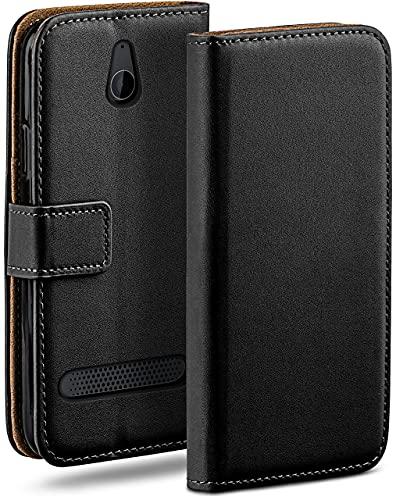 moex Klapphülle kompatibel mit Sony Xperia E1 Hülle klappbar, Handyhülle mit Kartenfach, 360 Grad Flip Hülle, Vegan Leder Handytasche, Schwarz