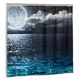 Set de Cortinas de baño para decoración de baño,Cielo Nocturno,Luna Llena y Nubes brumosas con Vidrio Turquesa como Cortinas de baño de Tela Sea Ocean con Ganchos 72x72in