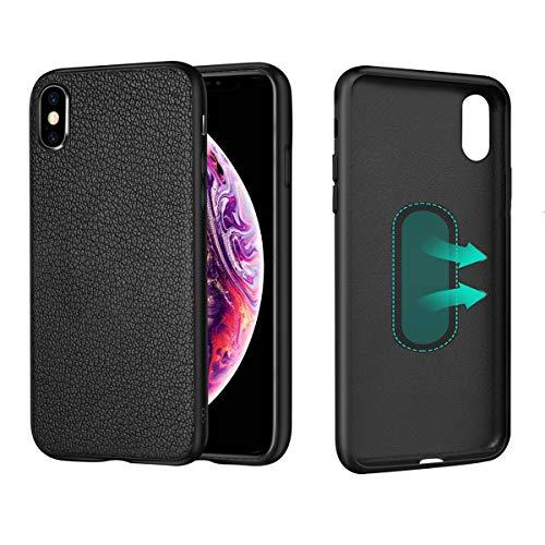 CHANCCI Funda Magnética de Cuero para iPhone XS (5.8') Carcasa Protectora Cover Plástica Bumper Case para Soporte de Coche Magnético con Placa de Metal Incorporada, Negro