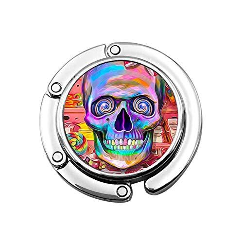 Skull with Bow Tie Foldable Purse Holder, Handbag Hanger Bag Hook for Table Desk