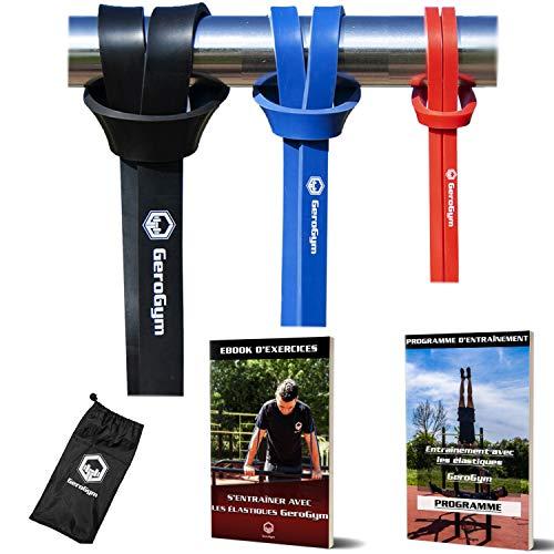 GeroGym - Set di 3 fasce elastiche per sollevamento pesi + eBook di esercizi + programma di allenamento fitness in omaggio   Kit bande di trazione Street Workout Gym Cross Fit Yoga   Qualità Premium