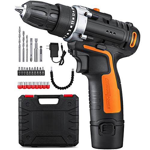YIMALER 12V Cordless Drill Driver Kit Handheld Drill 1.5Ah Li-Ion 26 Accessories 3/8' Chuck Max Torque 265 In-Lb 2 Speed Fast Charger LED light for Household Jobs Battery Included