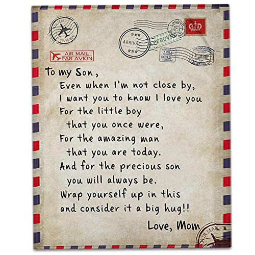 Manta de forro polar para cama con texto en inglés 'To Son, Love Mom', manta de correo aéreo para regalos para hija, abrazos de energía positiva (To Son , Love Mom, 127 x 152 cm)