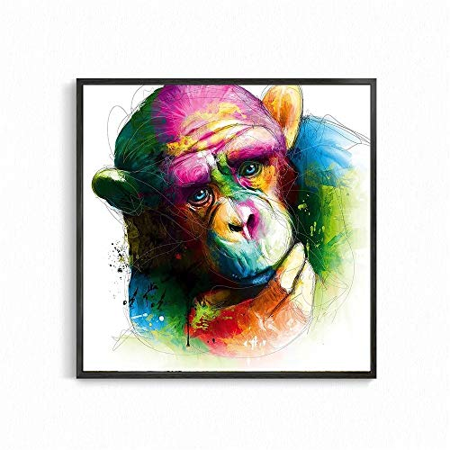 Gorilla DIY Paint by Numbers for Adults Beginner Kids, Canvas Acrylic Stress Less Number Painting Gifts40x40cm no frame