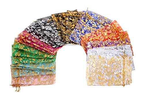 """ZUUC 5X7"""" Bolsa com cordão de organza de ouro rosé de 12,7 cm Pacote com 100, Assorted Color"""