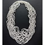 GIFTEXPRESSⓇ Pack of 12, 6mm 33 Inch Strand Pearl Bead Necklaces Flapper Beads Party Acc...