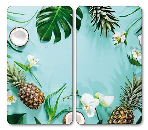 Kesper, 36545, Multi-Glasschneideplatte/Herdabdeckplatte 2-TLG, Motiv: Tropical Summer, ESG-Glas, nahezu unzerbrechlich, 52 x 30 x 0,5 cm