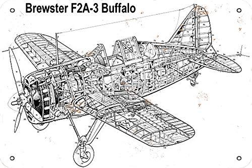 GenericBrands Brewster F2A-3 Buffalo World War II Fighter Cartel de Hierro Oxidado...