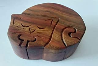 Arts Of Creation Mystery Box Wooden Puzzle Toys and Games Cat Shape Secret Storage Handmade by Indian Birthday Gift Wedding Gift