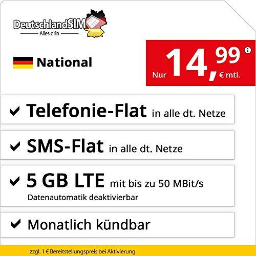 DeutschlandSIM LTE 4000 National - monatlich kündbar (5 GB LTE mit max. 50 MBit/s inkl. deaktivierbarer Datenautomatik, Telefonie-Flat, SMS-Flat, 14,99 Euro/Monat)