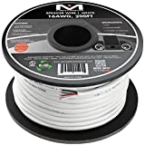 Mediabridge 16AWG 4-Conductor Speaker Wire (200 Feet, White) - 99.9% Oxygen Free Copper - UL Listed CL2 Rated for in-Wall Use (Part# SW-16X4-200-WH)