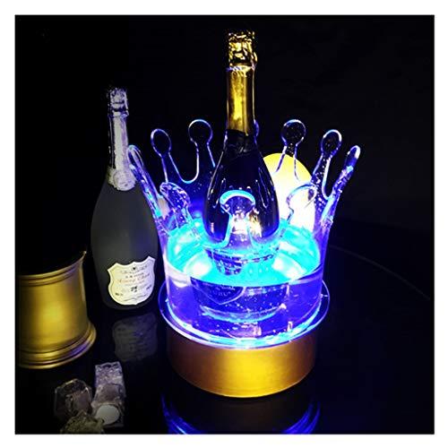 MAGFYLY Barril de Vino de Madera Cubitera de Hielo LED, Bar Glow Champagne Cooler Cambio de Color Colorido Creativo Cubitera de Hielo LED para Bar Fiesta de Navidad (20 * 27 * 35cm)