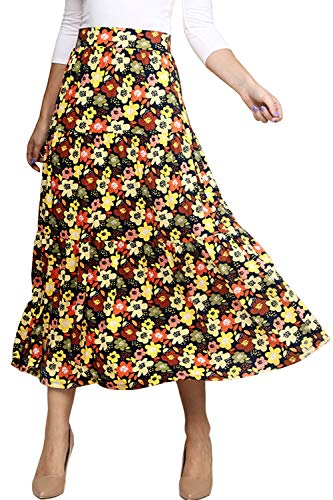 Doublju Women's Elastic Waist Layered Shirring Maxi Skirt with Plus Size Orangefloral S