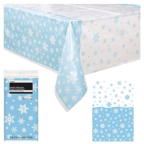 Mantel de mesa de copos de nieve único, decoración de fiesta, falda de mesa rectangular de plástico   Ideal para fiestas de Navidad, celebraciones de vacaciones y reuniones temáticas