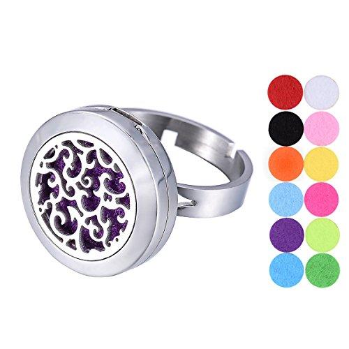 Vine Aromatherapie ätherisches Öl Diffusor Ring Edelstahl verstellbar Medaillon Ring 12Refill Pads